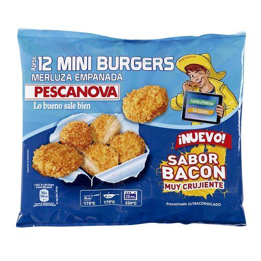 PESCANOVA mini hamburguesas de merluza empanadas 360 gr