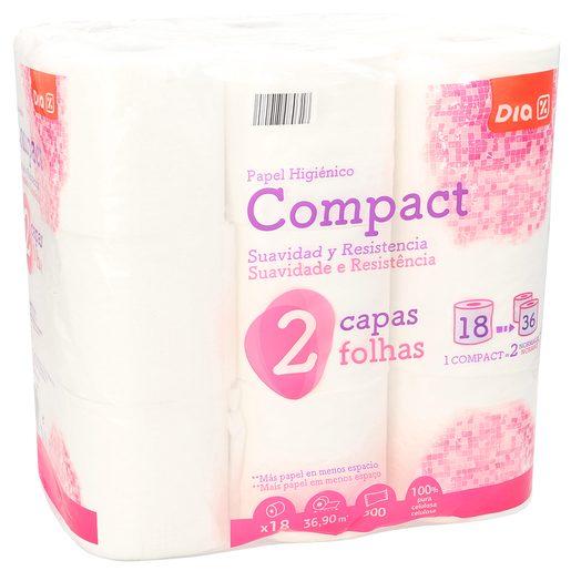 DIA papel higiénico compacto blanco 2 capas paquete 18 uds