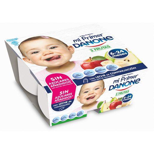 DANONE Mi primer danone yogur tres frutas pack 4 unidades 100 gr