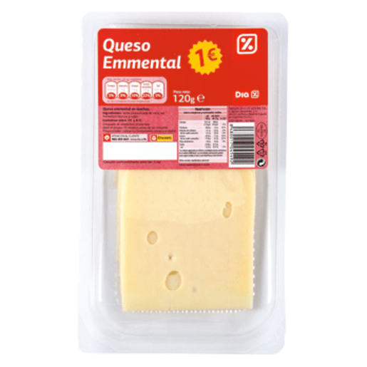 DIA queso emmental lonchas envase 120 g
