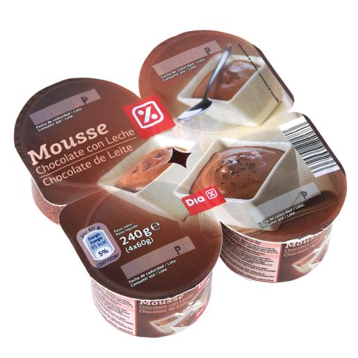 DIA mousse de chocolate pack 4 unidades 240 g