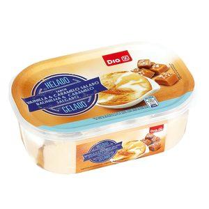DIA helado sabor vainilla y caramelo salado barqueta 525 gr