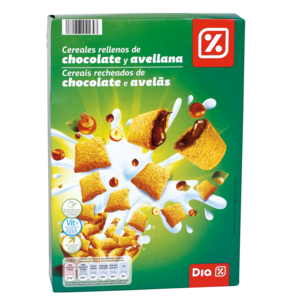 DIA cereales rellenos de chocolate y avellana caja 500 gr