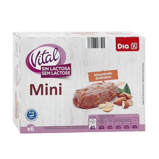DIA VITAL helado mini bombon almendrado sin lactosa caja 6 uds 240 gr