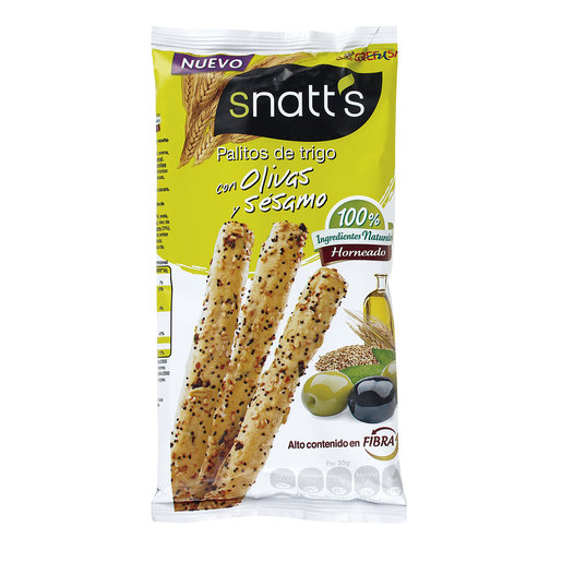 GREFUSA Snatt´s palitos de trigo con olivas y sésamo bolsa 60 gr