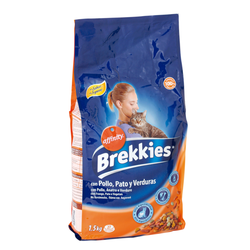 BREKKIES EXCEL alimento para gatos mix pollo bolsa  1,5 kg