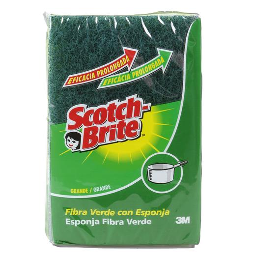 SCOTCH BRITE estropajo fibra verde con esponja paquete 2 uds