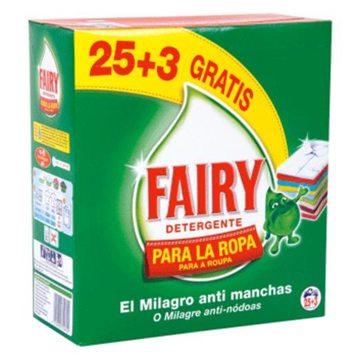 FAIRY detergente máquina polvo maleta 25 + 3 cacitos