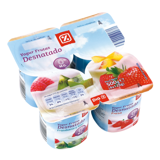 DIA yogur panache con frutas desnatado pack 4 unidades 125 g