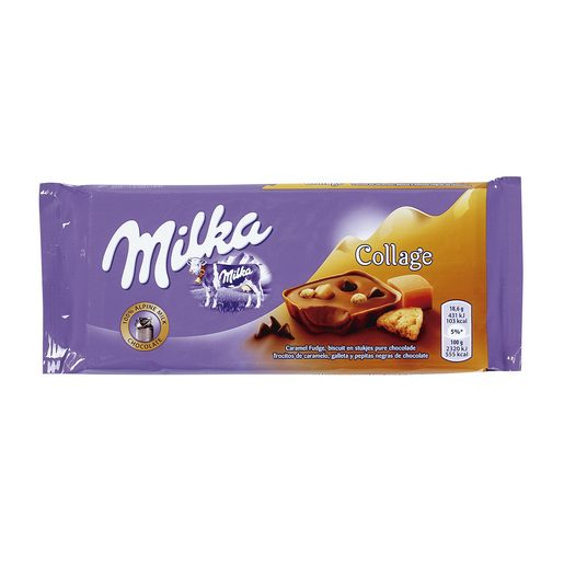 MILKA chocolate collage con galleta y caramelo tableta 93 gr