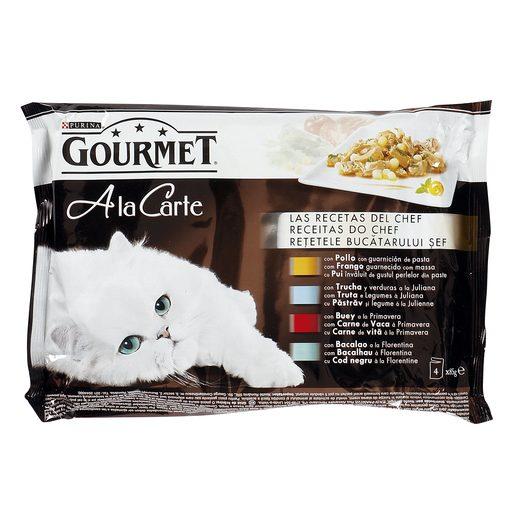 GOURMET A la carte alimento para gatos pollo/trucha/buey/bacalao 4 x 85 gr