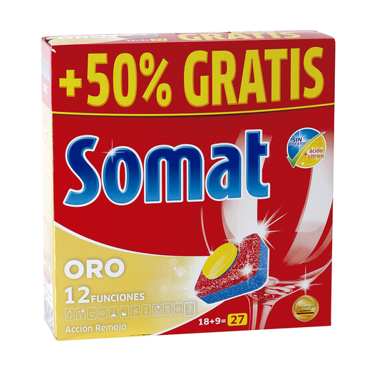 SOMAT 10 lavavajillas máquina oro caja 18 + 9 cápsulas