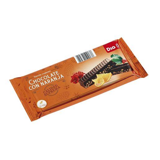 DIA turrón crujiente de chocolate negro con naranja estuche 260 gr