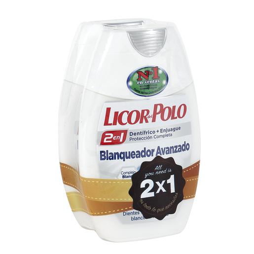 LICOR DEL POLO pasta dentífrica 2 en 1 blanqueador avanzado  bote 2 x 75 ml