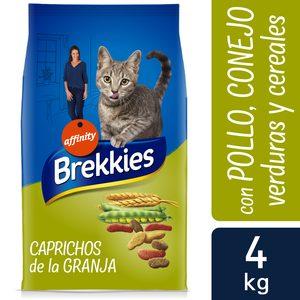 BREKKIES alimento para gatos caprichos de la granja bolsa 4 Kg