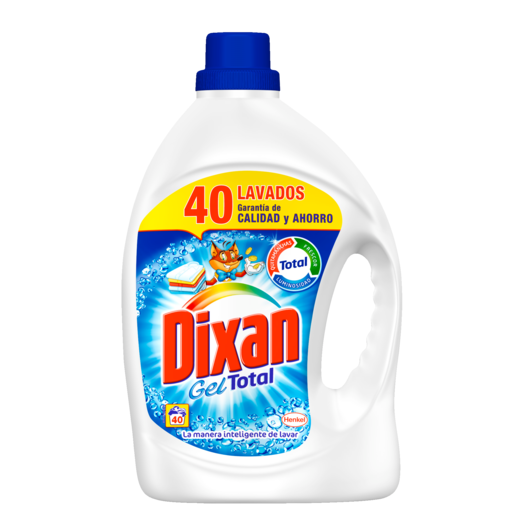 DIXAN detergente máquina líquido gel botella 40 lv