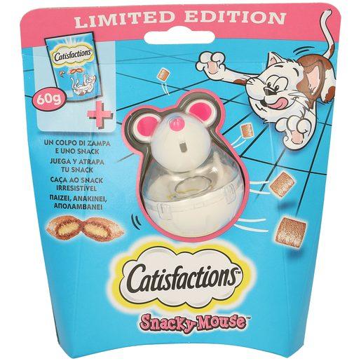 CATISFACTIONS pack snack para gatos sabor salmón 60 gr + juguete ratón
