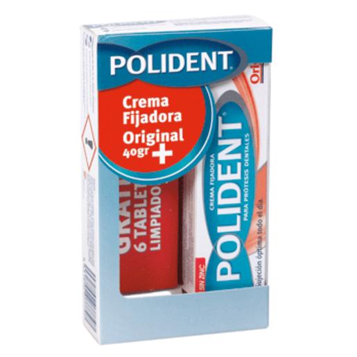 POLIDENT crema fijadora + 6 tabletas limpiadoras gratis pack 1 ud