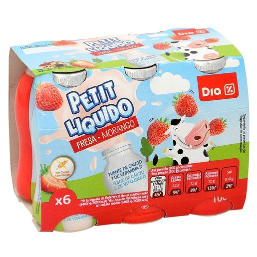DIA petit suisse para beber fresa pack 6 unidades 100 g