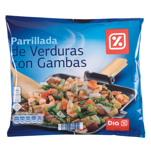 DIA parrillada de verduras con gambas bolsa 500 gr