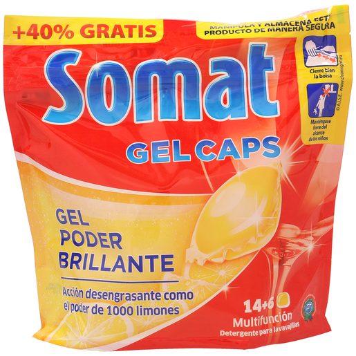 SOMAT lavavajillas máquina gel fragancia limón 14 + 6 pastillas