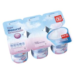 DIA yogur natural desnatado pack 6 unidades 125 g
