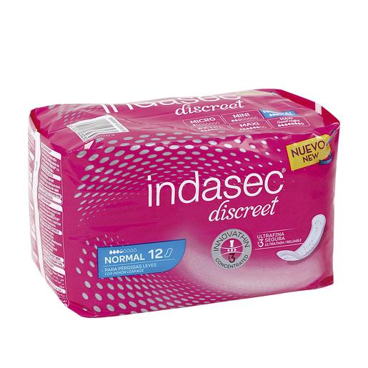 INDASEC Discreet compresas de incontinencia normal bolsa 12 uds