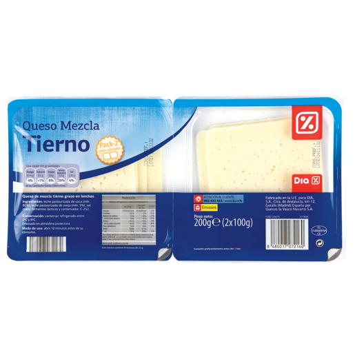 DIA queso tierno lonchas envase pack 2x100 g