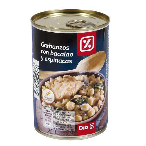 DIA garbanzos con bacalao y espinacas lata 430 gr