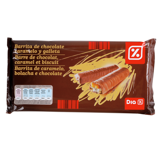 DIA barrita de chocolate caramelo y galleta bolsa 290 gr
