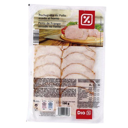 DIA pechuguitas de pollo asada al horno en lonchas envase 100 gr