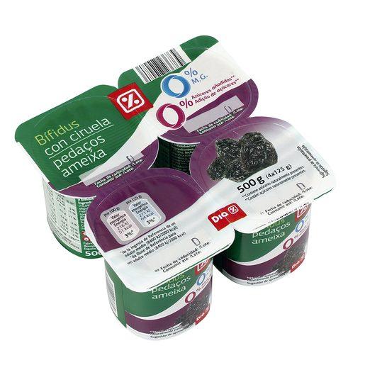DIA yogur bífidus con ciruela 0% pack 4 unidades 125 g