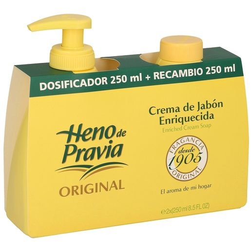 HENO DE PRAVIA jabón líquido de manos original dosificador 250 ml + recambio 250 ml