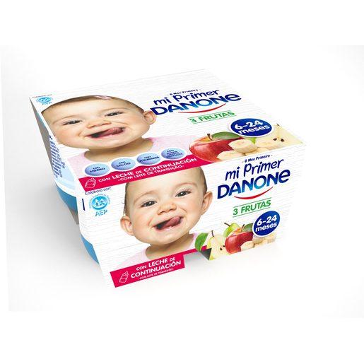 DANONE Mi primer danone yogur tres frutas pack 4 unidades 125 gr