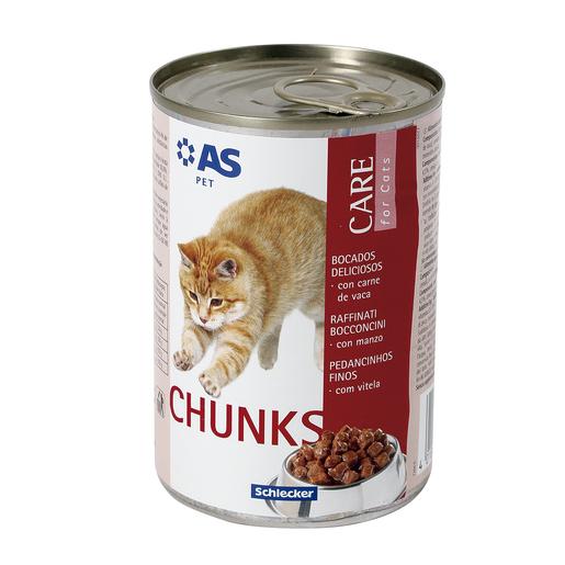 AS bocaditos para gatos deliciosos con carne de vaca lata 415 gr