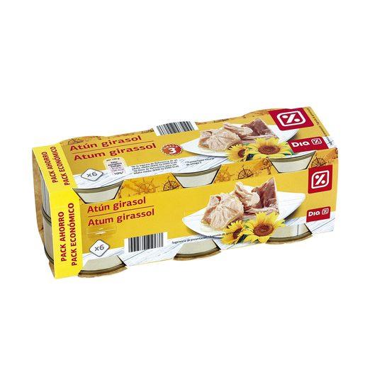 DIA atún en aceite de girasol pack de 6 latas 52 gr