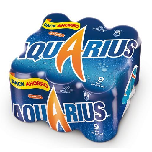 AQUARIUS bebida refrescante aromatizada naranja pack 9 latas 33 cl