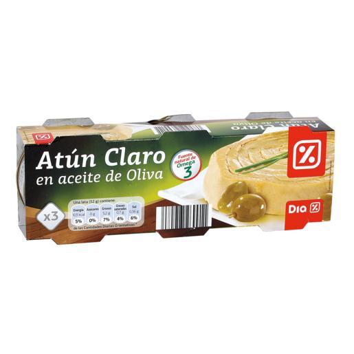 DIA atún claro en aceite de oliva pack 3 latas de 52 gr