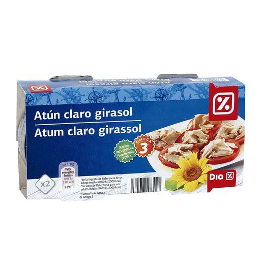 DIA atún claro en aceite de girasol pack 2 latas 104 gr