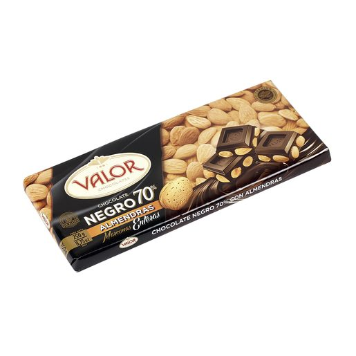 VALOR chocolate negro 70%  con almendras tableta 250 gr
