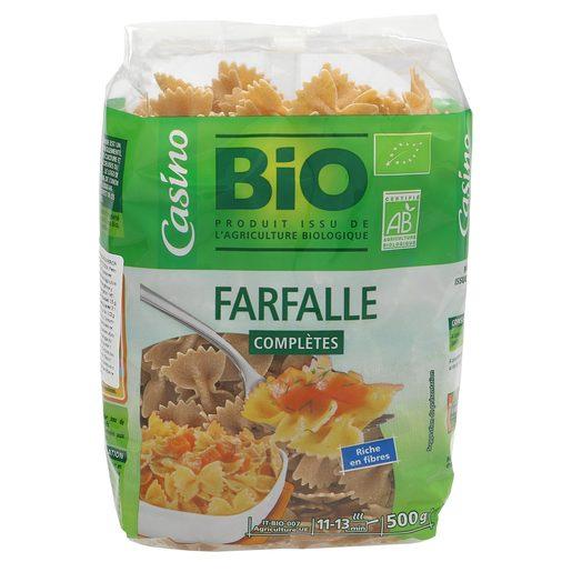 CASINO BIO pasta integral farfalle paquete 500 gr
