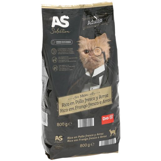 AS Selection alimento para gatos rico en pollo y arroz bolsa 800 gr