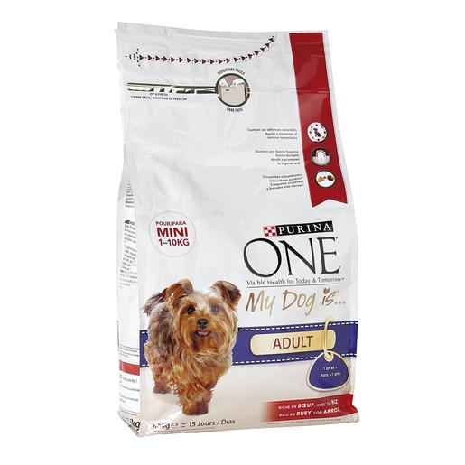 PURINA ONE alimento para perros mini rico en buey con arroz bolsa 1.5 Kg