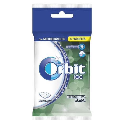 ORBIT ICE chicle grageas sabor hierbabuena paquete 4 uds