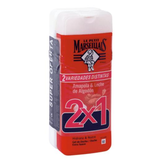 LE PETIT MARSEILLAIS gel de ducha amapola y leche de algodón pack 2x400 ml