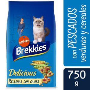 BREKKIES Delicious alimento para gatos con pescado y verdura bolsa 750 gr