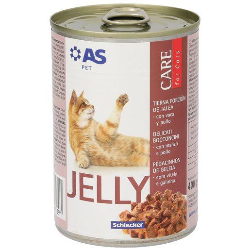 AS alimento para gatos en gelatina con vaca y pollo lata 400 gr