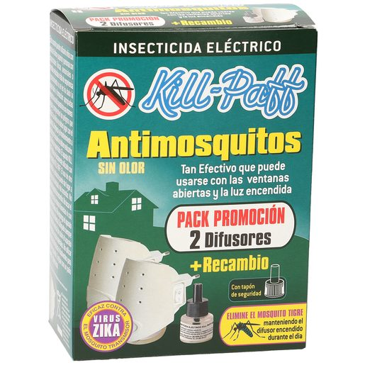 KILL PAFF insecticida eléctrico antimosquitos 2 aparatos + recambio