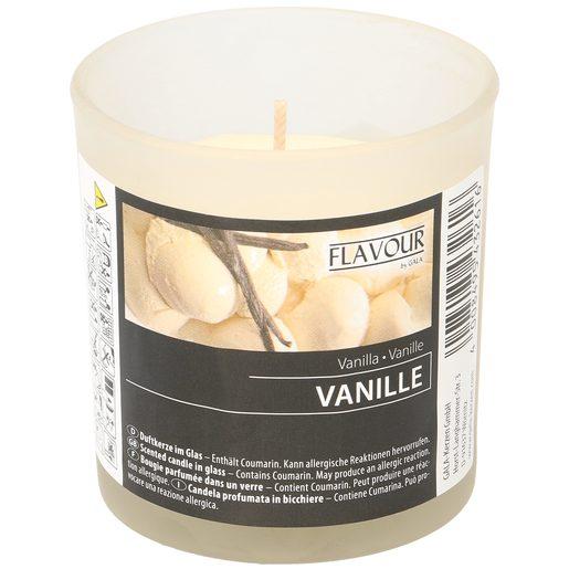 Vela perfumada aroma vainilla vaso 1 ud