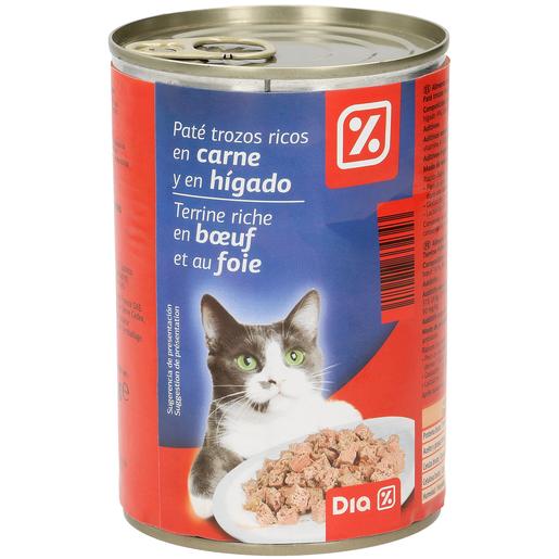 DIA alimento para gatos paté trozos carne e higado lata 400 gr